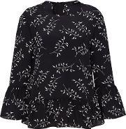 Hallhuber , Silk Blouse With Back Bow, Black