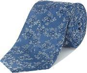Howick Tailored , Barnes Floral Jacquard Silk Tie, Sky Blue