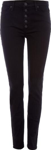 Hudson Jeans , Ciara Highrise Exposed Button Jeans In Black, Black