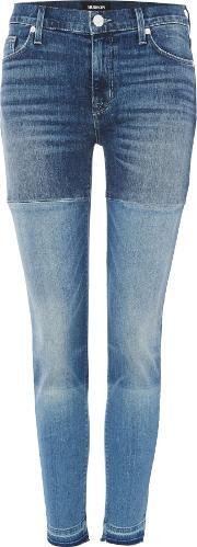 Hudson Jeans , Isla Midrise Crop Patch Jeans In High Marks, Denim Mid Wash