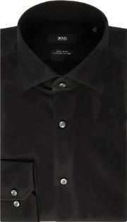 Hugo Boss , Men's  Gordon Tonal Textured Regular Fit Shirt, Black
