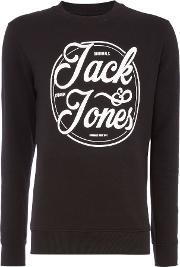 Jack & Jones , Men's  Logo Crew Neck Sweatshirt, Black