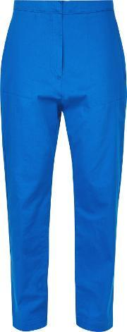 Jaeger , Patch Pocket Cropped Trousers, Blue