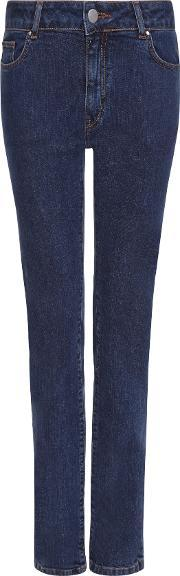 Jaeger , Straight Mid Rise Jeans, Blue