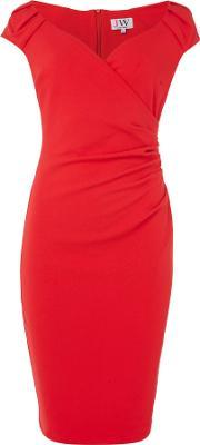 Jessica Wright , Cappedsleeve Gathered Bodycon Dress, Red