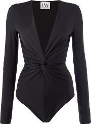 Jessica Wright , Long Sleeve Knot Front Top, Black