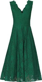 Jolie Moi , Scalloped Lace Prom Dress, Green
