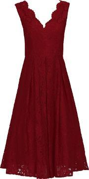 Jolie Moi , V Neck Pleated Lace Dress, Red