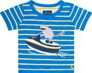 Joules , Boys Striped Racoon T Shirt, Blue