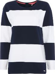 Joules , Crew Neck Sweat With Stripe, Navy