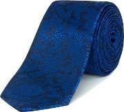 Kenneth Cole , Madison Large Floral Jacquard Silk Tie, Royal Blue