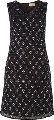 Lace And Beads , Kaylee Vneck Full Embellished Short Dress, Black