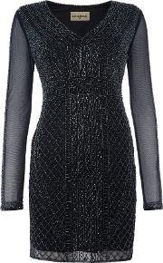 Lace And Beads , Long Sleeved Beaded Bodycon Dress, Navy