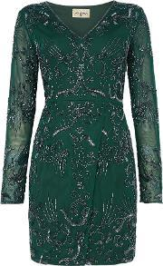 Lace And Beads , Milan V Neck Embellished Bodycon Dress, Bottle Green
