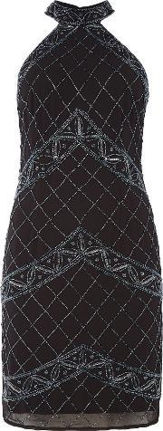 Lace And Beads , Pocahuntus Halterneck Bodycon Dress, Black
