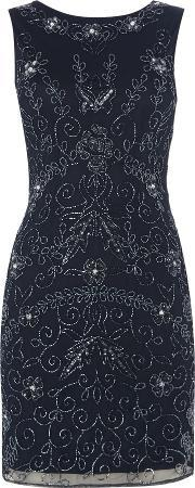 Lace And Beads , Sleeveless Embellished Bodycon Dress, Navy