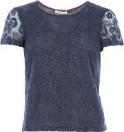 Lavand , Lace Short Sleeved Top, Blue