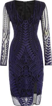 Lavish Alice , Long Sleeved Embroidered Bodycon Dress, Navy