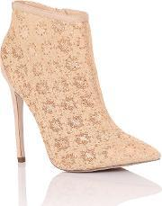 Little Mistress , Lace Ankle Boots, Nude