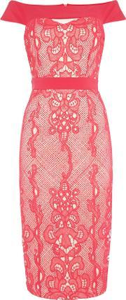 Little Mistress , Sleeveless Off Shoulder Lace Overlay Midi Dress, Pink