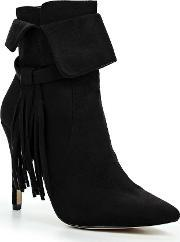 Lost Ink , Arella Fringed Stiletto Ankle Boots, Black