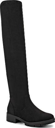 Lost Ink , Gain Cleated Stretch Over Knee Boots, Black