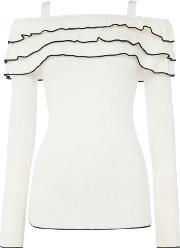 Lost Ink , Longsleeve Cold Shoulder Ruffle Jumper, Off White