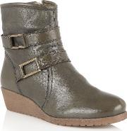 Lotus , Loradi Leather Ankle Boots, Green