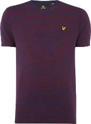 Lyle And Scott , Men's  Striped Short Sleeve T Shirt, Navy
