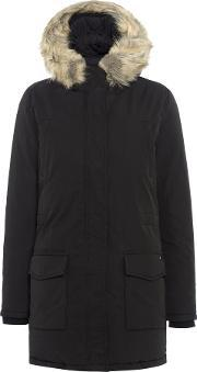 Maison Scotch , Hooded Down Parka With Removable Faux Fur, Black