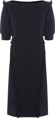 Marella , Caracas Boatneck Dress With Frill Detail, Black
