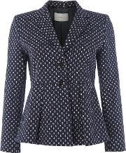 Marella , Chicky Anchor Print Jacket With Peplum, Navy