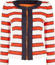 Max Mara , Cinto Striped Linen Jacket With Trim, Red