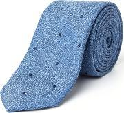 Paul Costelloe , Stepney Skinny Spot Silk Tie, Blue