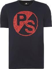 Ps By Paul Smith , Men's  Large Ps Logo Chest Print T Shirt, Navy