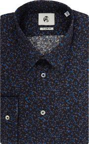 Ps By Paul Smith , Men's  Long Sleeved Hole Punch Print Shirt, Navy
