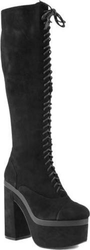 Shellys London , Bank Knee High Lace Up Platform Boots, Black