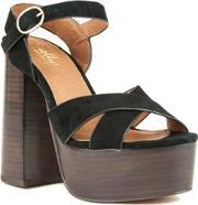 Shellys London , Lauren Cross Vamp Platform Court Shoes, Black