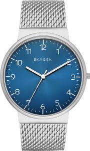 Skagen , Skw6146 Mens Mesh Watch, Silver Metallic
