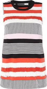 Sportmax Code , Agro Sleeveless Striped Frill Top, Red