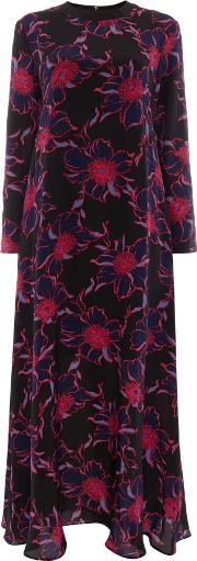 Sportmax Code , Amour Maxi Long Sleeve Contrast Floral Dress, Blue