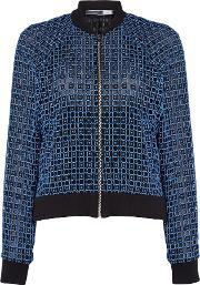 Sportmax Code , Crochet Bomber Jacket With Ribbed Cuff, Black