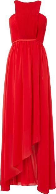 Studio 75 , Sleeveless High Neck Cut Out Detail Maxi Dress, Red