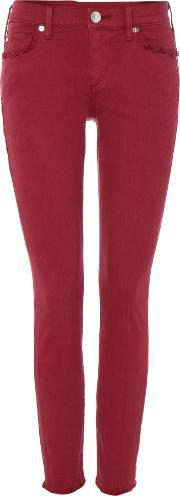 True Religion , Casey Cropped Fray Jeans In Merlot, Pink