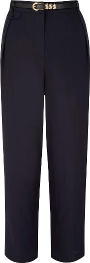 Uttam Boutique , Linen Tailored Trousers, Navy
