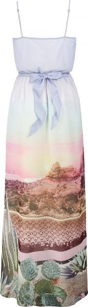 Uttam Boutique , Palm Springs Cactus Print Maxi Dress, Multi Coloured
