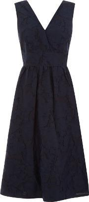 Warehouse , Burn Out Prom Dress, Navy
