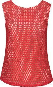 Wolf & Whistle , Crochet Lace Top, Red