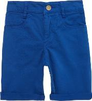 Zadig & Voltaire , Boys Cotton Drill Turn Up Shorts, Blue