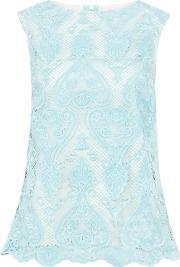 Wolf & Whistle , Crochet Lace Top, Blue